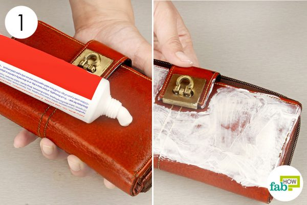 cover the scratched leather with toothpaste