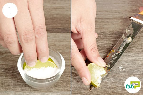 rub knife with lemon and salt