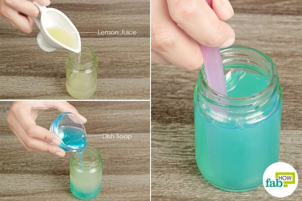 pout lemon juice, and dish soap in a jar