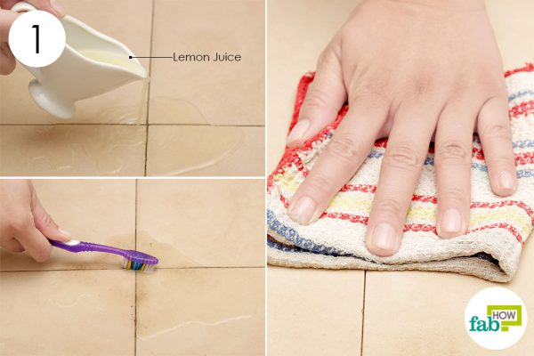 scrub lemon juice on tile grout with toothbrush