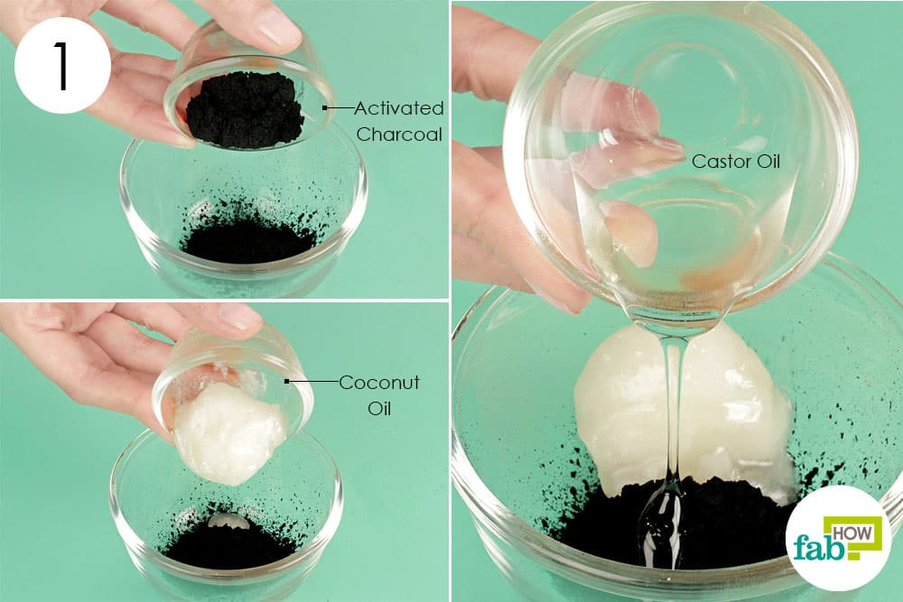 Step 1. Mix activated charcoal with coconut oil and castor oil