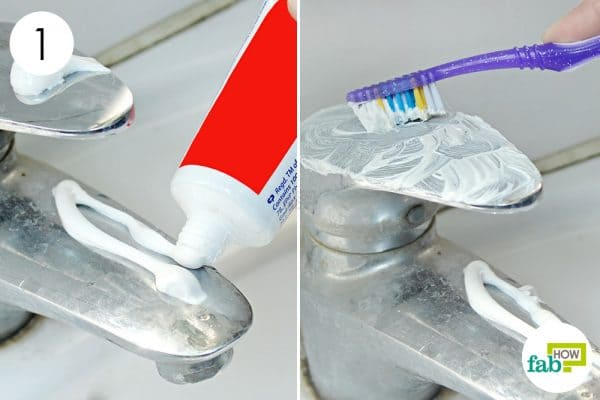 scrub the crome fixture with toothpaste