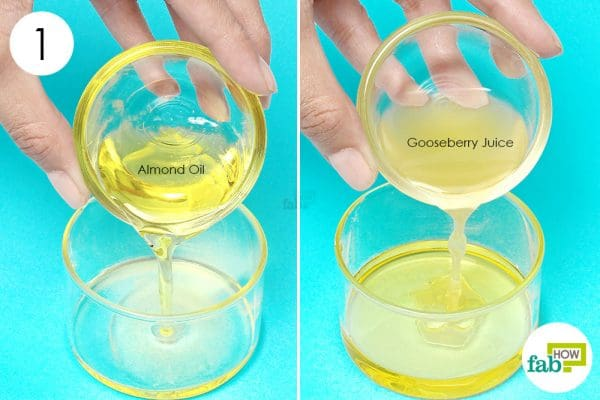 mix indian gooseberry juice with sweet almond oil