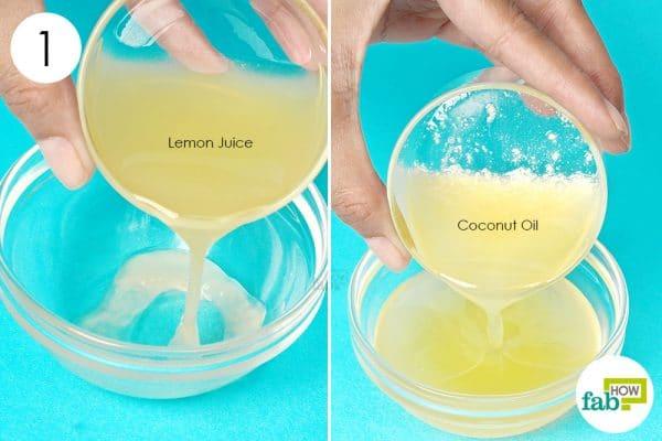 combine coconut oil and lemon juice
