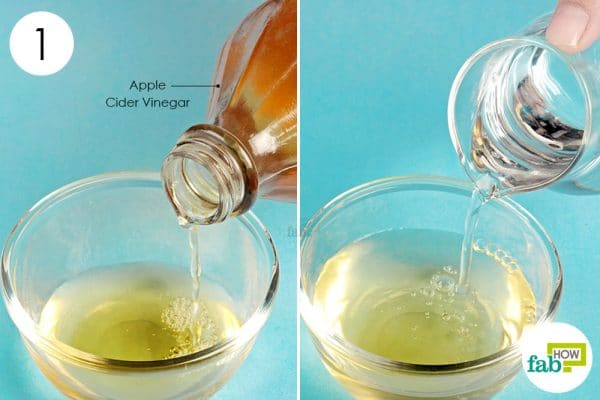 dilute apple cider vinegar with warm water