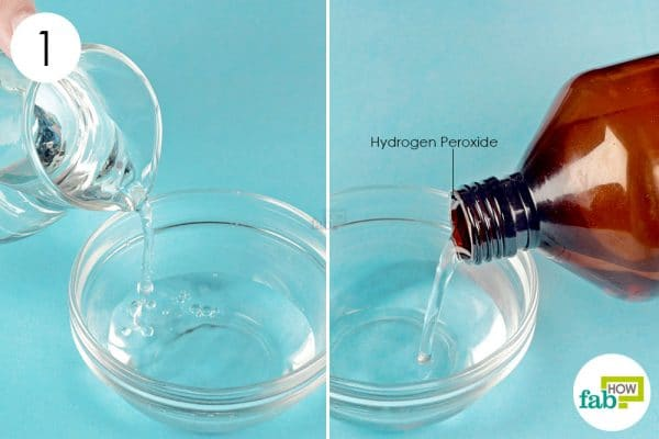 dilute hydrogen peroxide with distilled water