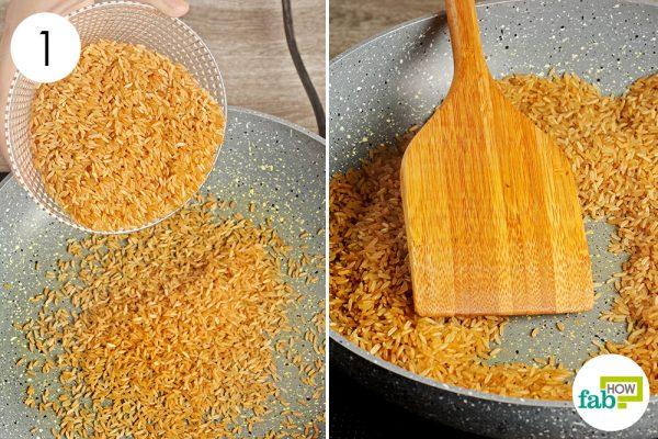 dry roast the brown rice