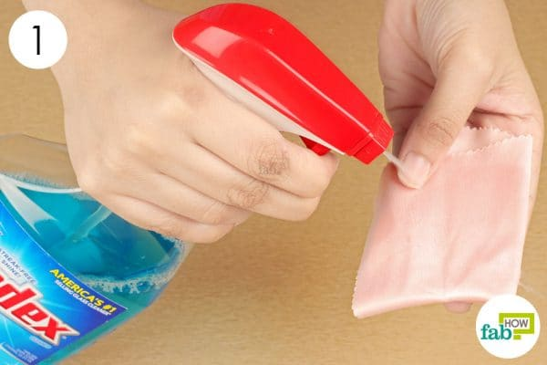 wet a microfiber cloth with windex