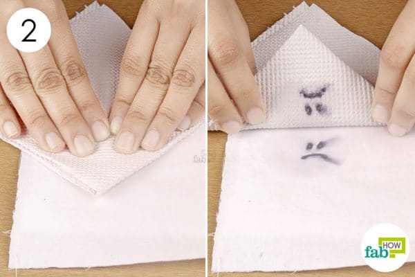 blot the stain with paper towel
