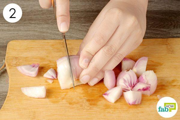 chop the microwaved onion