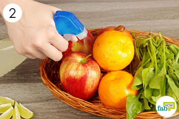 spray lemon solution on fruits and vegetables