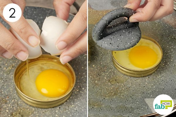 crack an egg into each ring