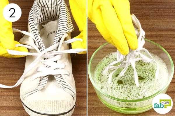 soak the dirty laces in the solution