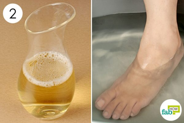 soak your feet in the solution