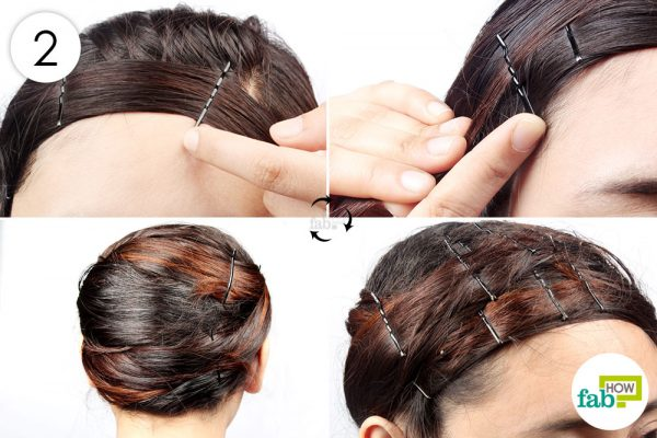 wrap hair around your head using bobby pins