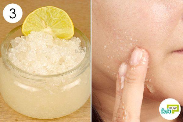 exfolaite skin with lemon scrub