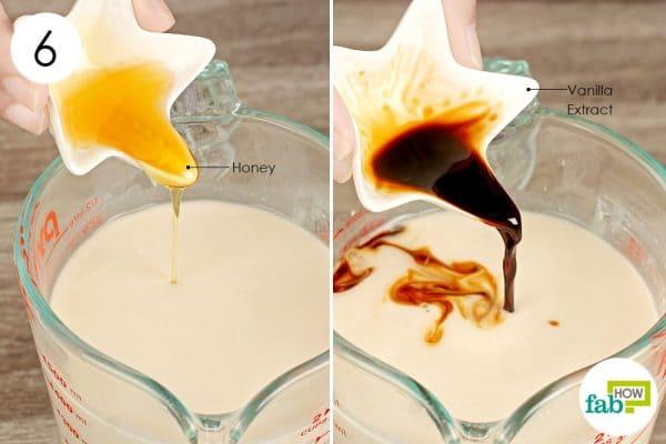 add honey and vanilla extract