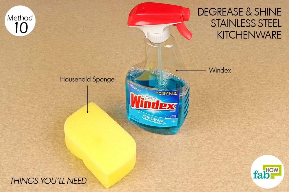 things you'll need for cleaning stainless steel pan with windex