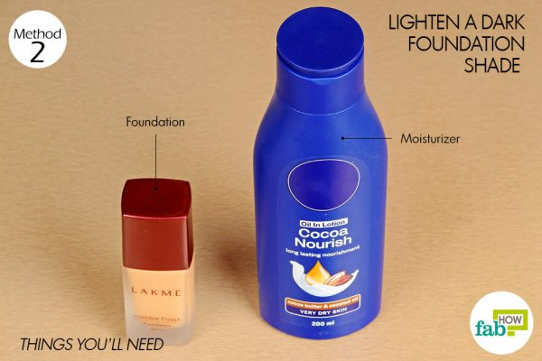 things you'll need to lighten dark shade of foundation