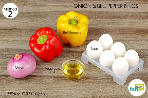 things you'll need to use onion and bell pepper rings to make sunny side up eggs