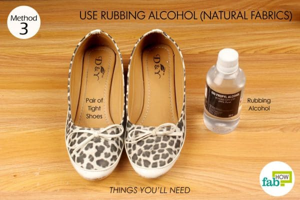 things you'll need to stretch too tight shoes with rubbing alcohol