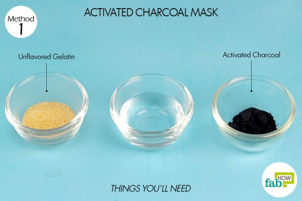things you'll need to make DIY peel off facial mask with activated charcoal and gelatin