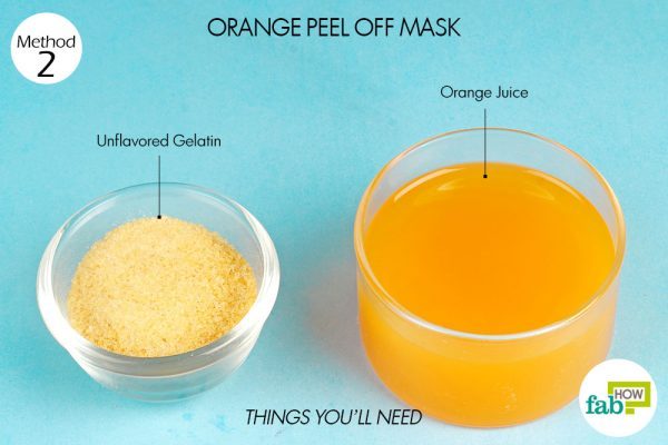 things you'll need to make DIY peel-off facial mask using orange juice