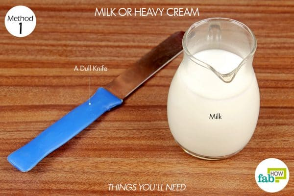 things you'll need to use milk to remove chocolate stain from clothes