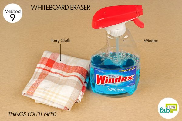 things you'll need windex as whiteboard eraser
