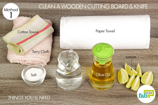 things you'll need for cleaning wooden cutting board and knife