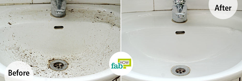 how to clean stains of white sink