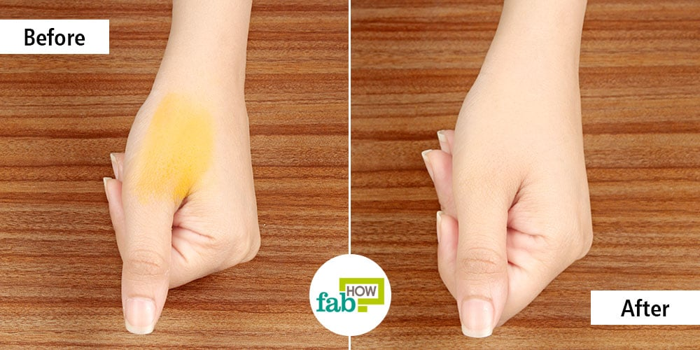Before And After Removing Turmeric Stains From Skin Nails With Sugar Scrub