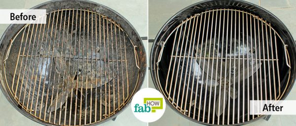 before after cleaning grill with dish soap