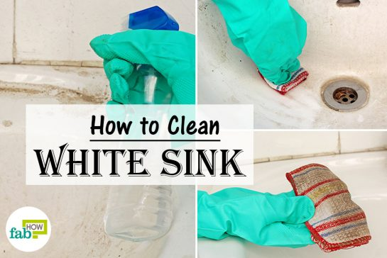 how to clean a white sink