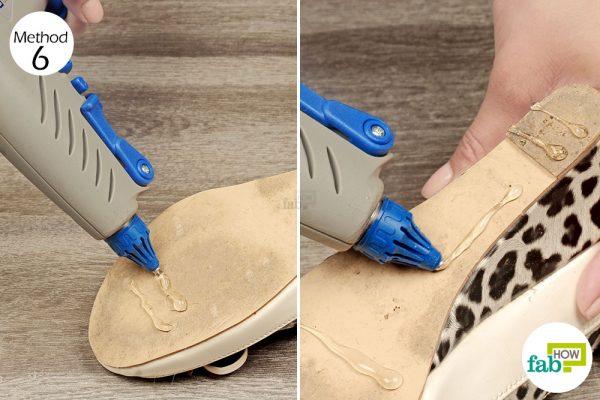 apply glue gun on shoe soles