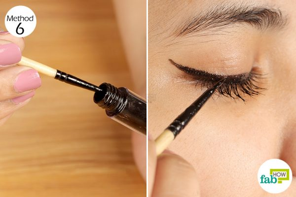 apply mascara as eyeliner using a thin brush