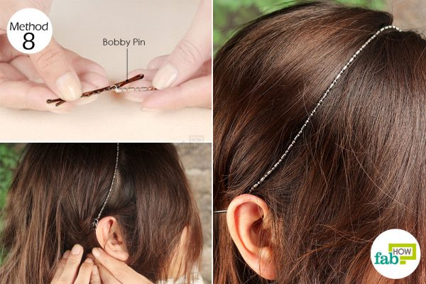 insert bobby pins into both ends of chain and use as hair band