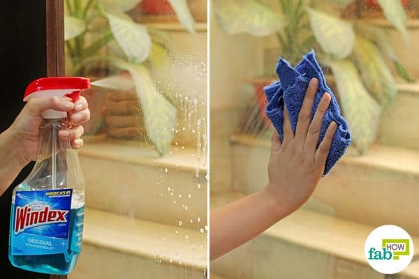 spray windex on the glass surface and wipe clean