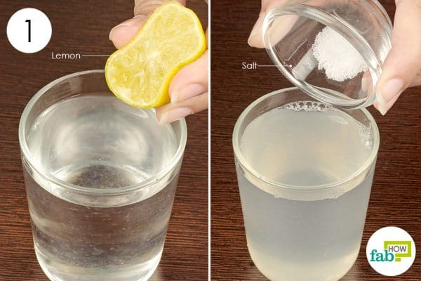 add lemon juice and salt to a glass of water