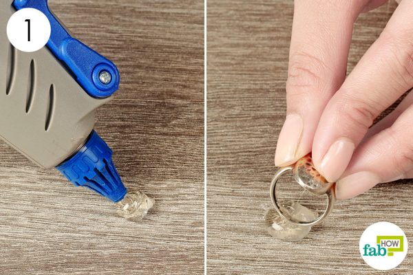 push ring into a fresh blob of hot glue