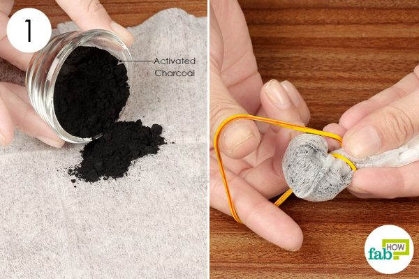 bundle up activated charcoal in a dryer sheet