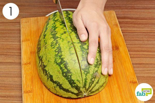 cut the watermelon halve into two