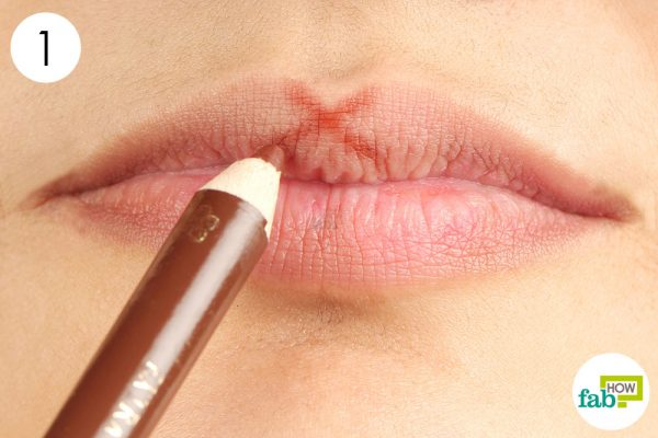 draw an x at the cupids bow at lip liner