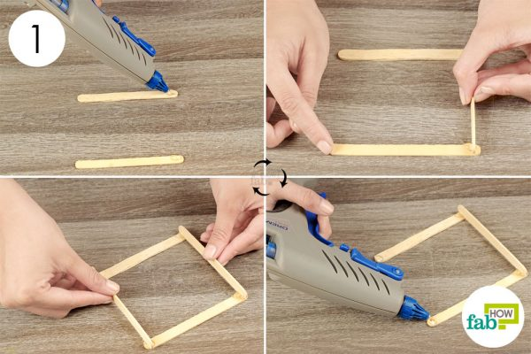 glue 4 craft sticks together to make the coaster frame