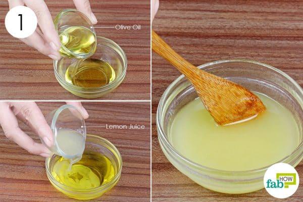 mix olive oil and lemon juice