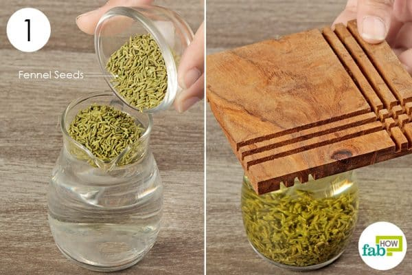 add fennel seeds to hot water and steep