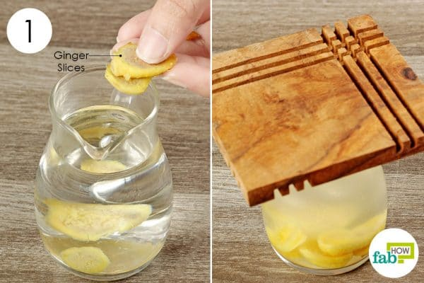put some sliced ginger in hot water