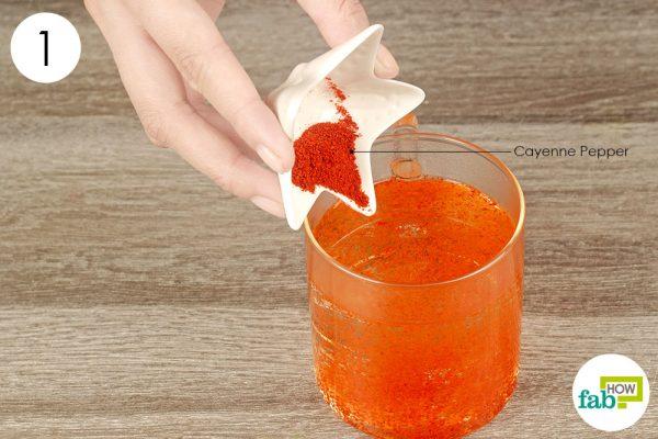 mix cayenne pepper in hot water