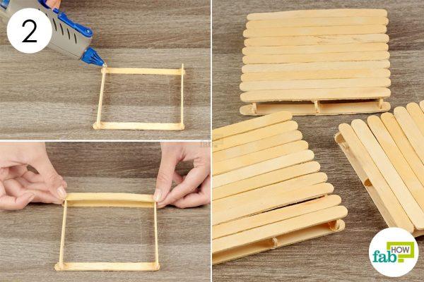 cover the coaster frame with more craft sticks