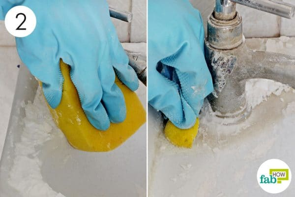 scrub the surface with lemon